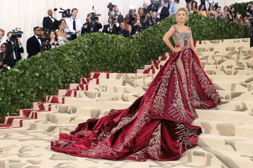"""NEW YORK, NY - MAY 07: Blake Lively attends """"Heavenly Bodies: Fashion & the Catholic Imagination"""", the 2018 Costume Institute Benefit at Metropolitan Museum of Art on May 7, 2018 in New York City. (Photo by Taylor Hill/Getty Images)"""